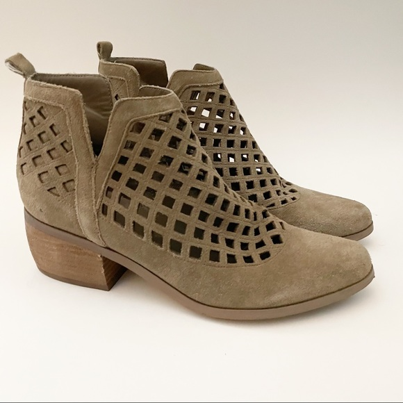 Crown Vintage taupe leather laser cut booties 8.5